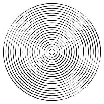 Radiating, concentric circles abstract monochrome vector graphic