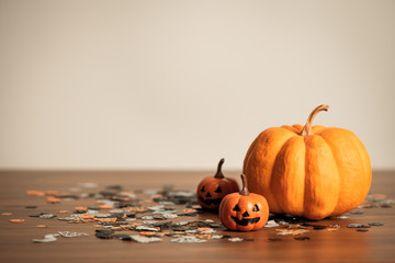 Halloween holiday background concept, design with copy space for text, advertising and banner, soft focus.