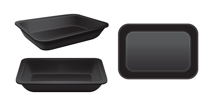 Empty styrofoam food storage. Black food plastic tray, set of foam meal containers