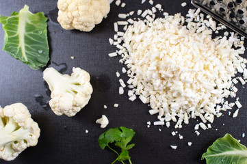 Grated raw cauliflower for your cauliflower rice