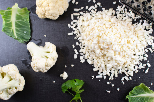 Grated raw cauliflower for your cauliflower rice