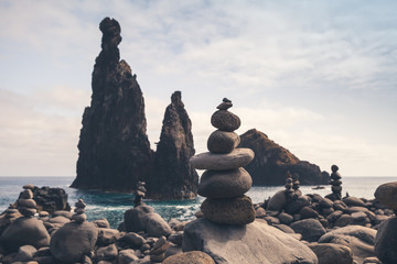 Cairns and dark rocky Islets, Madeira Wall mural