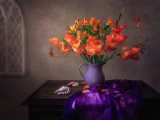 Still life with luxurious bouquet of flowers in retro style