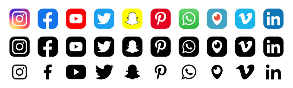 Facebook, twitter, instagram, youtube, snapchat, pinterest, whatsap, linkedin, periscope, vimeo - Collection of popular social media logo. Social media icons. Realistic set. Vector editorial