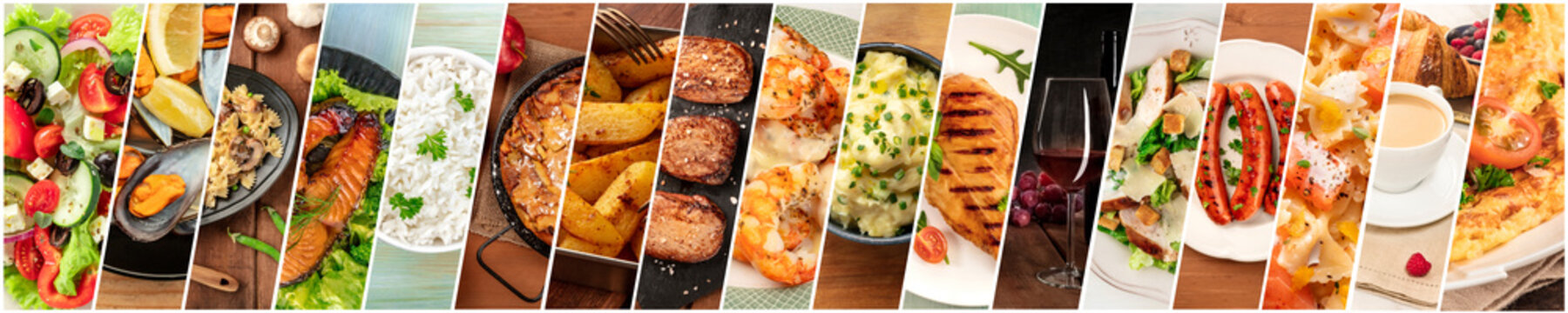 Food Collage. A design template with many tasty dishes