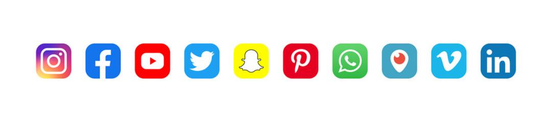 Facebook, twitter, instagram, youtube, snapchat, pinterest, whatsap, linkedin, periscope, vimeo - Collection of popular social media logo. Editorial illustration. Vinnitsa, Ukraine - September 4, 2019