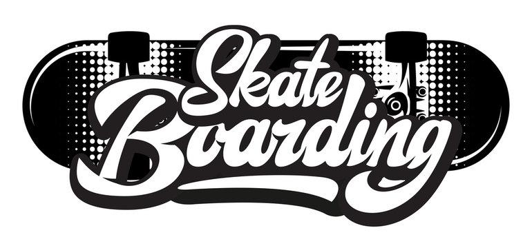 Stylish calligraphic inscription - skateboarding. Vector monochrome illustration