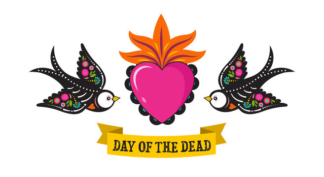 Day of the dead, Dia de los moertos, birds skulls and skeleton decorated with colorful Mexican elements and flowers. Fiesta, Halloween, holiday poster, party flyer. Vector illustration