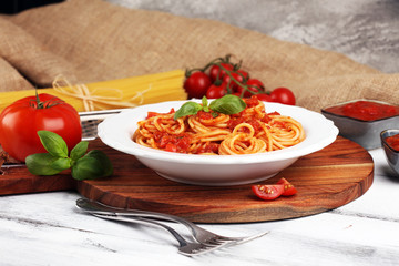 Plate of delicious spaghetti Bolognaise or Bolognese with savory minced beef and tomato sauce...