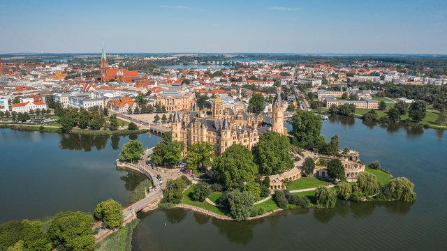 Aerial view of Schwerin Castle