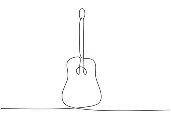 Acoustic guitar vector minimalism continuous one line drawing isolated on white background