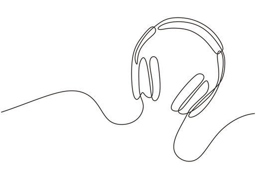 Headphones with music and technology symbols Vector illustration isolated on white background. Continuous line drawing. Audio device drawing by simple one single lines