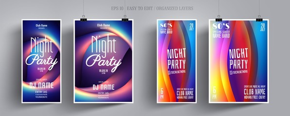 Party Flyer or Poster for Music Night Club. Invitation Layout for Music Disco Party, Concert, Show, Dance Club, Electronic, Festival, Celebration. Colorful Shimmering Waves. Vector Illustration.