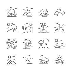 Line icon is set of natural location. Vector editable stroke. EPS10