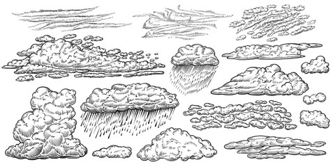 Clouds vector hand drawn set. Weather line sketches in vintage style.