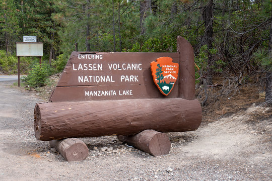 Lassen County, CA - July 9, 2019: Entrance sign for Lassen Volcanic National Park - Manzanita Lake entrance