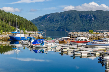 Pictureseque small fishing village Eidsora along Tingvollfjorden in More og Romsdal county in Norway