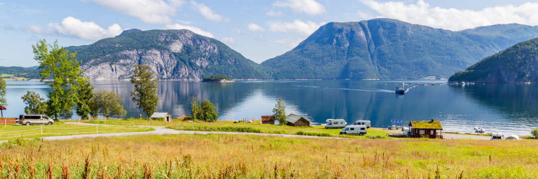 Camping along Sundalsfjord in Norway, Scandinavia