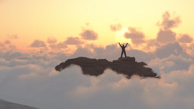 Man on a mountain peak