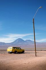 Abandoned wrecked car in Atacama Desert, Chile-Bolivia