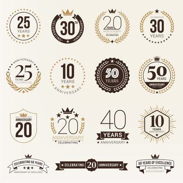 Multiple years anniversary celebration logotype. anniversaries logo set