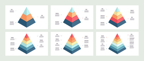 Business infographics. Pyramid charts with 3, 4, 5, 6, 7, 8 steps, options, layers, levels. Vector diagrams.