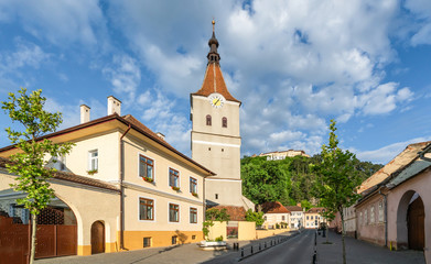 Wall Mural - Landscape with Rasnov town and medieval fortress, Brasov, Transylvania, Romania