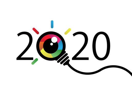 happy new year 2020. 2020 with Colorful eye bulb sign. Vision and idea