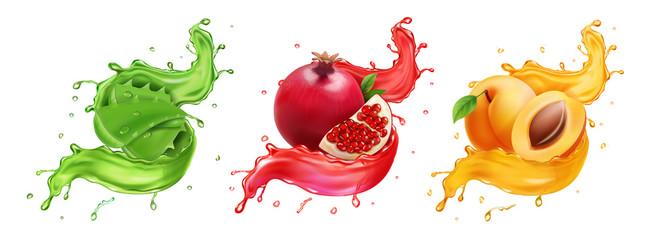Pomegranate, apricot aloe splash of juice. Healthy food, Natural fruit beverage 3d realistic vector icon set
