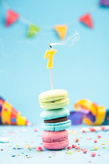 Seventh 7th Birthday Card with Candle Blown Out in Colorful Macaroons and Sprinkles. Card Mockup.