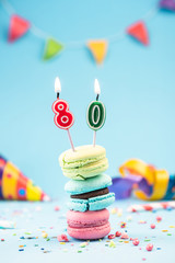 Eightieth 80th Birthday Card with Candle in Colorful Macaroons and Sprinkles. Card Mockup.