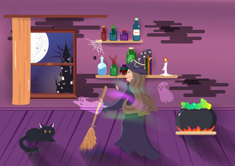 Halloween, Witch magic fantasy with ghost spirit, cartoon characters, room interior, party invites, happy greeting card holiday vector