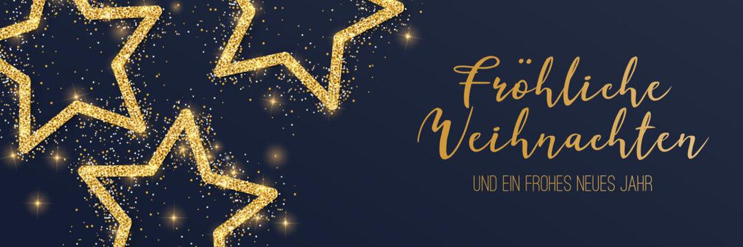 Weihnachtsbanner gold mit Sterne