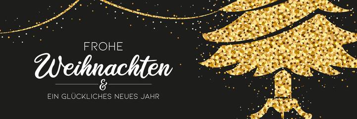 Weihnachtsbanner - Glitzer Weihnachtsbaum und Girlande mit Typographie Wall mural