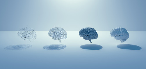 3d render of AI build step to human Brain , 4 brains, grid brain to real brain, white minimal design concept.