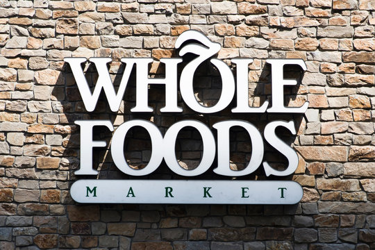 Detail of Whole Foods Market store in New York, USA. Whole Foods Market is an American multinational supermarket chain founded at 1980.