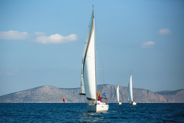 Wall Mural - Sailing yacht boats at the Aegean Sea in Greece.