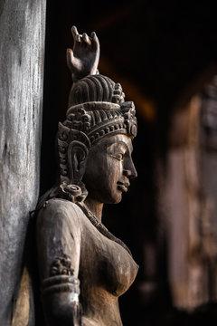 god goddess wood sculpture statue, exterior architecture, Sanctuary of Truth, Thailand
