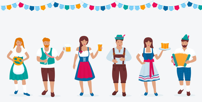 A group of people in traditional German costumes celebrate Oktoberfest. Lederhosen and Dirndl. A man in a green hat with a feather plays the accordion. Beer, sausage, pretzel.