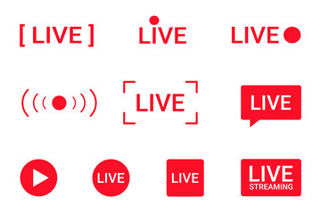 Set of live streaming icons. Red symbols and buttons of live streaming, broadcasting, online stream. Lower third template for tv, shows, movies and live performances