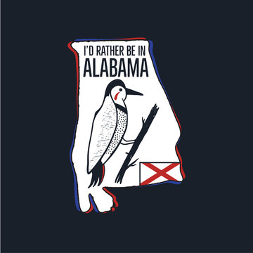 Vintage Alabama badge. Retro style US state patch, print for t-shirt and other uses. Included quote saying - I'd Rather be in Alabama. Stock vector label isolated