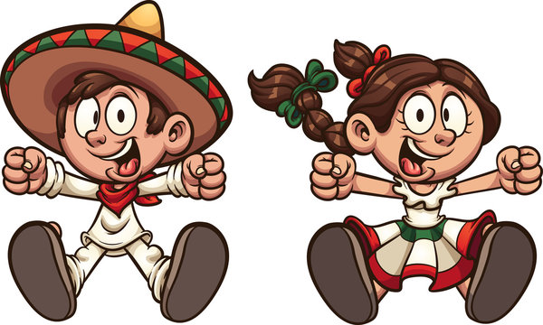 Happy Mexican boy and girl with typical clothes clip art. Vector illustration with simple gradients. Each on a separate layer.