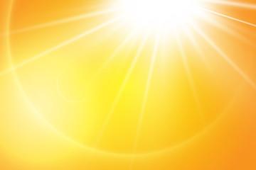 Warm sun on a yellow background. Leto.bliki solar rays Fototapete
