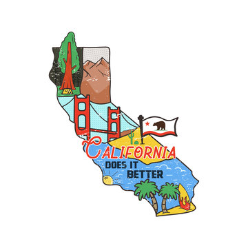 Vintage California map badge with tourist attractions. Retro style US state patch concept, print for t-shirt and other uses. Included quote saying - Cali does it better. Stock vector isolated