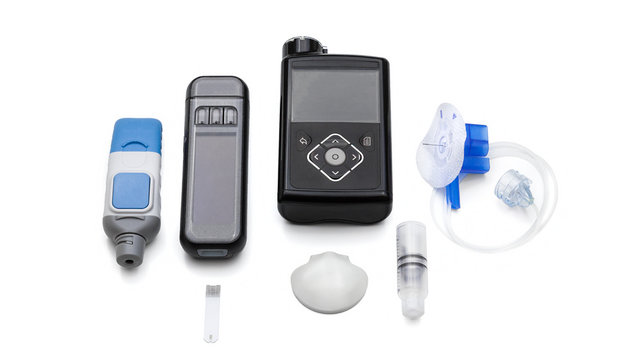 Modern Medical Accessories To Control Diabetes - insulin pump for automatic continuous injecting, reservoir and infusion set, blood sugar meter for sensor calibration, glucose sensor for monitoring