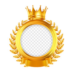 Crown And Laurel Wreath Realistic Frame