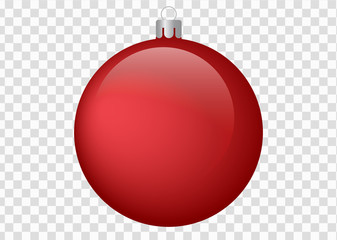 Red Christmas ball on isolated background - vector illustration