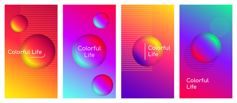 Colorful life social media stories duotone template set. Optimistic and positive thinking quote gradient web banner with fluid 3d shapes. Modern mobile app organic design. Blending colors mockup pack