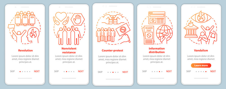 Political revolution onboarding mobile app page screen vector template. Civil unrest and social protest walkthrough website steps with linear illustrations. UX, UI, GUI smartphone interface concept
