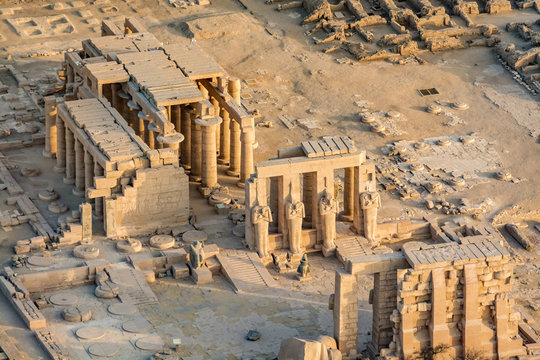 Aerial view of Ramesseum, Luxor, Egypt